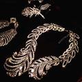 De gama alta de encargo de lujo de plumas de cristal collares y colgantes mujeres rhinestone de la vendimia gargantilla declaración collar de la joyería nupcial