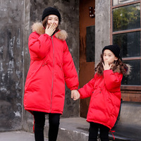 Family Look Winter Family Matching Outfits Coats Cotton Jacket Mother Daughter Long Sleeve Mom Baby Family Suit Mom Son Clothes