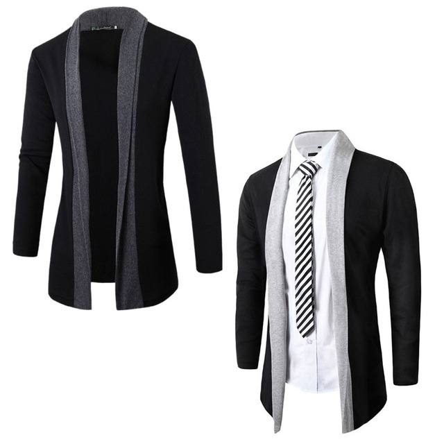 Men 's Knit Cardigan Slim Coat FashionJacket Long Sleeve Casual Sweater Coat