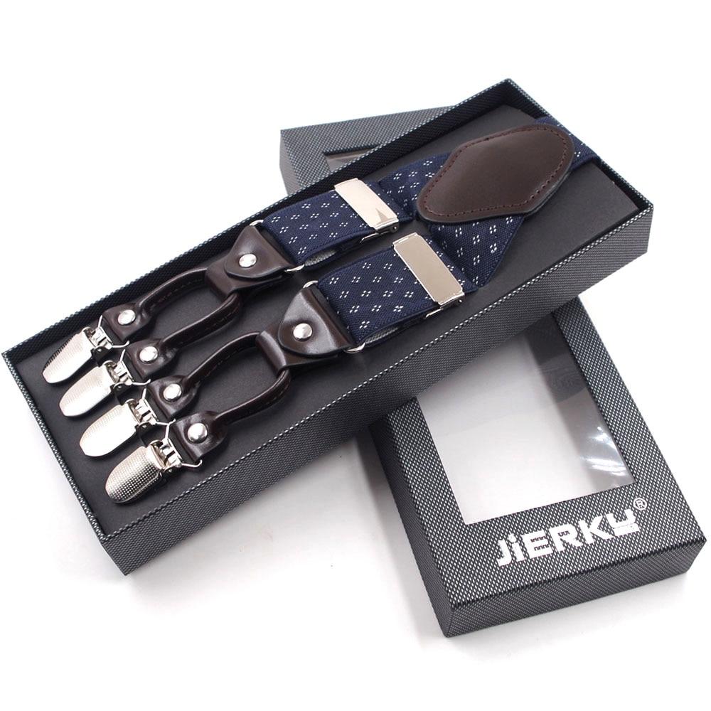 JIERKU Suspenders Man's Braces 6 Clips Suspensorio Fashion Tirantes Trousers Strap Father/Husband's Gift 20 Colors 3.5*120cm