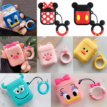 For AirPods Case Silicone Cute 3D Cartoon Earphone Airpods 2 Headphone Apple Air pods Cover Earpods Ring Strap