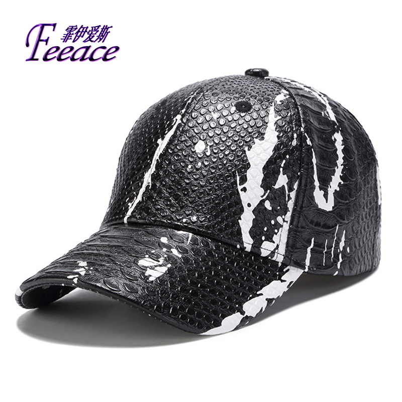 PU hat,Cortical   cap  ,snake grain   baseball     cap  ,men's and women's fashionable   baseball     cap  , spring and autumn sports   cap  .BF362