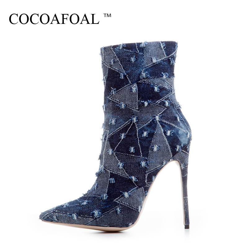 COCOAFOAL Woman Denim Chelsea Boots Fashion Sexy 12 CM High Heel Shoes Plus Size 33 - 43 Blue Khaki Autumn Winter Ankle Boots