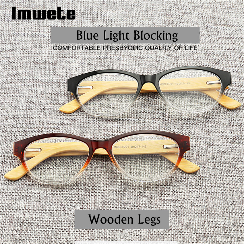64c955f4a0 Imwete Bamboo Wood Reading Glasses Women Men Hyperopia Blue Light Blocking Readers  Presbyopic Wooden Diopter Glasses