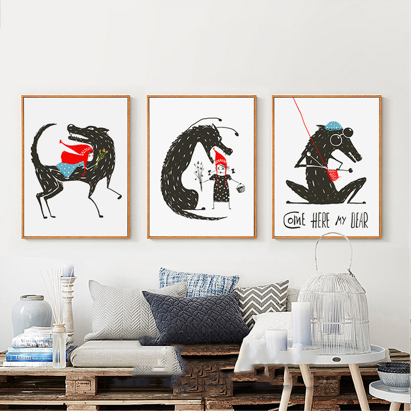 Us 2 34 40 Off Nordic Modern Cartoon Fairy Tale Wolf And Little Red Riding Hood Watercolor Painting Poster Wall Nursery Decor Art Print Canvas In