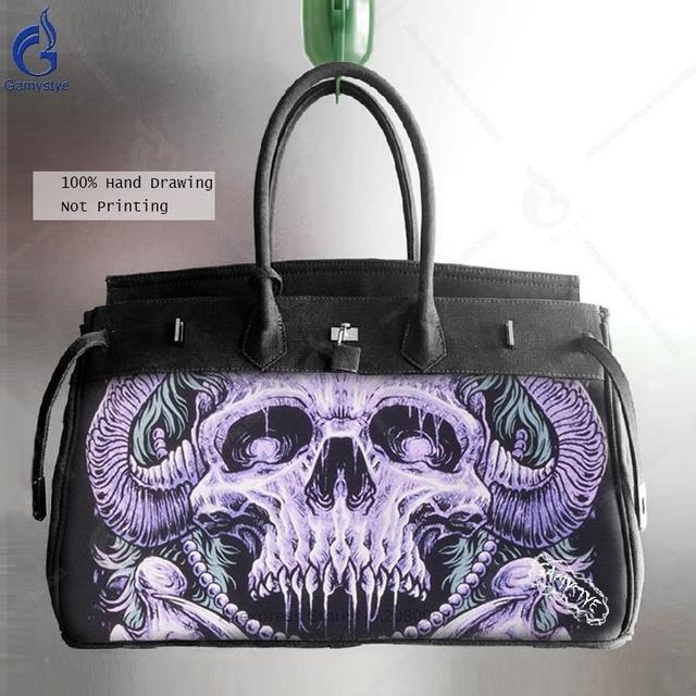 Canvas Men Messenger Bags Smith Satchel Shoulder Bag Art Hand Paint Graffiti Skull Handbags Bolsa