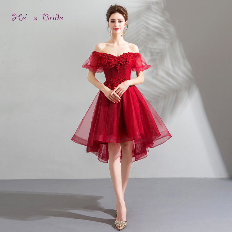 He's Bride Red Elegant Cocktail Dress Strapless Short Sleeves Ball Gown Appliques Floral Print Knee-length Party Formal Vestidos