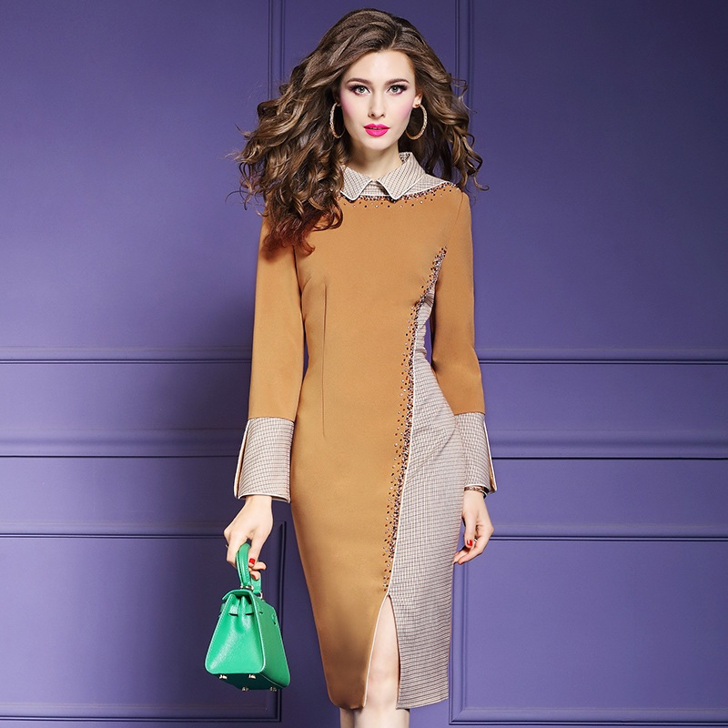 A line Office Lady dress Spring 2019 Long sleeves Women Beaded sexy Party Dress Plus Size