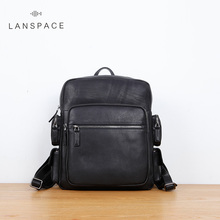 LAN men's cow leather backpack Brand British large travel bag business bag