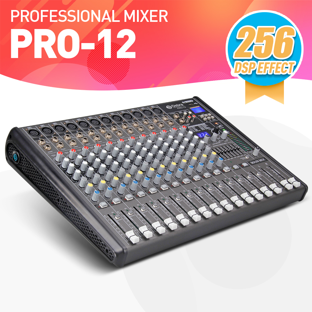 Professional Debra Audio PRO 12 Channel with 256 DSP Sound Effects Bluetooth Studio Mixer Audio DJ Sound Controller Interf