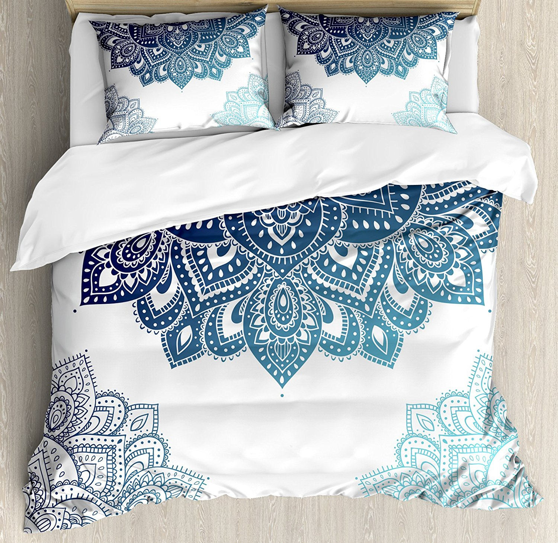Henna Duvet Cover Set South Asian Mandala Design with Vibrant Color Ornamental Ethnic Illustration Decorative 4pcs Bedding Set