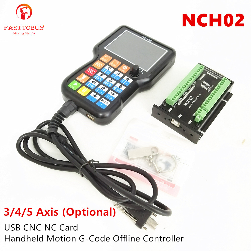 3/4/5 Axis Offline Controller NCH02 + USB CNC NC Card Handheld Motion G Code Controller Controller Board For Engraving Machine