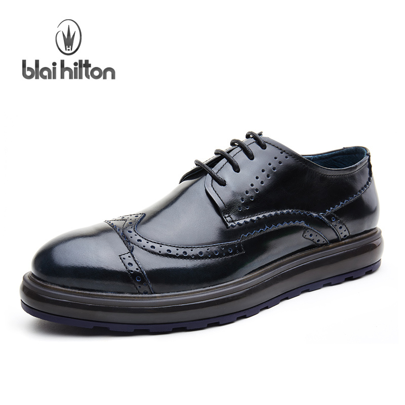 Blai Hilton New Fashion Spring/Autumn men shoes Genuine Cow Leather shoes Breathable/Comfortable Business Men's Casual Shoes micro micro 2017 men casual shoes comfortable spring fashion breathable white shoes swallow pattern microfiber shoe yj a081