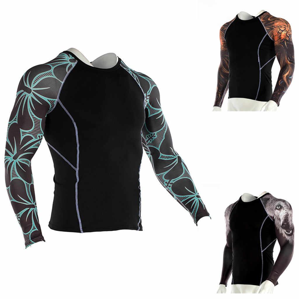 2019 الرجال ضغط تشغيل الركض الرجال تي شيرت طويلة الأكمام ملابس السباحة ركوب الأمواج ثوب السباحة الرياضة اللياقة البدنية رياضة # P67