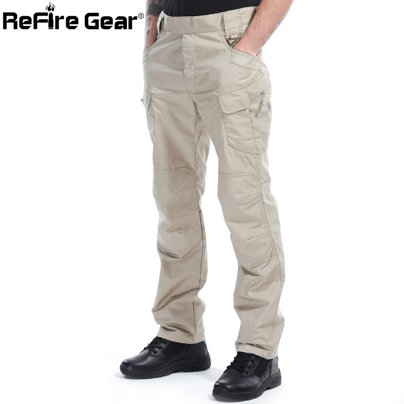 ReFire Gear Men Tactical Cotton Rip-stop Waterproof Cargo Pants SWAT Multi Pocket Military Army Pants Man's Autumn Casual Pants