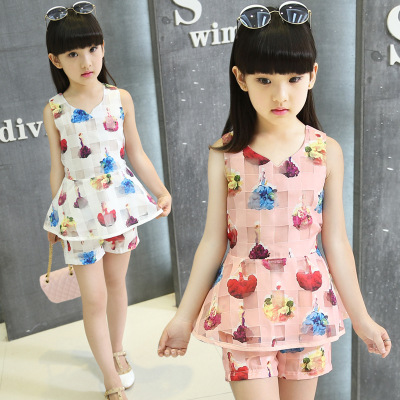 2ks sada Nové letní modely holky velký panenský oblek děti bez rukávů vesta T-shirt šortky dívky krátký rukáv dětské oblečení