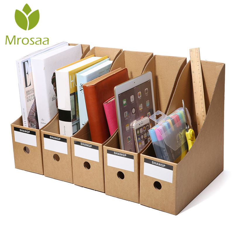 5pcs Kraft Paper Table Storage Box Folder Bookend Frame File Storage Box for Home Office Study Desktop Books Documents Organizer все цены