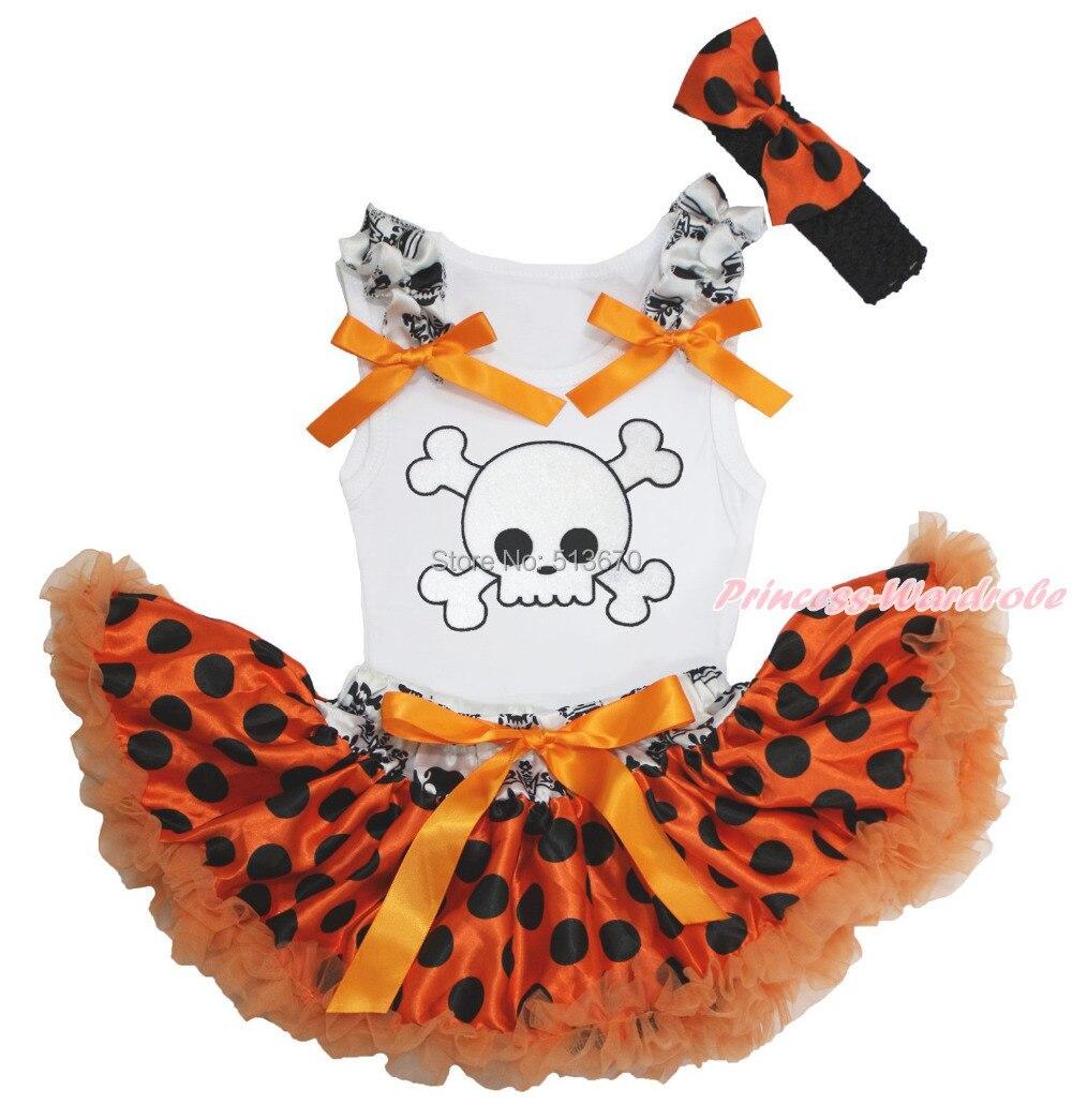 Halloween White Skull Print White Top Baby Girl Crown Skull Waist Orange Black Dot Pettiskirt Set 3-12M NG1293 машина стиральная gvs4 127dwc3 2 07 7кг 1200об 40см