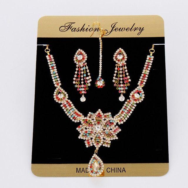 Rhinestone Earring Set Crystal Stud Headpiece Bollywood Wedding Dancing Belly Dance Accessories Jewelry