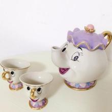 [1 TOPF + 2 TASSEN] schönheit und das biest mrs potts chip kaffee tee-set topf tasse becher wasserkocher porzellan 18 k vergoldete keramik geschenk