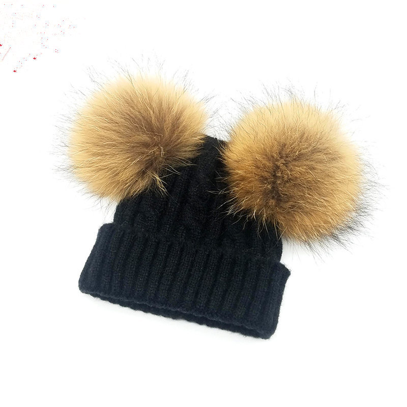 New children's knit wool really double hair ball cap knit hat autumn and winter trend wool cap boys and girls models SW-65 ymsaid latest hot selling multi functional knit cap balaclava mask winter wool hats adult men and women neck warmer thick it tak
