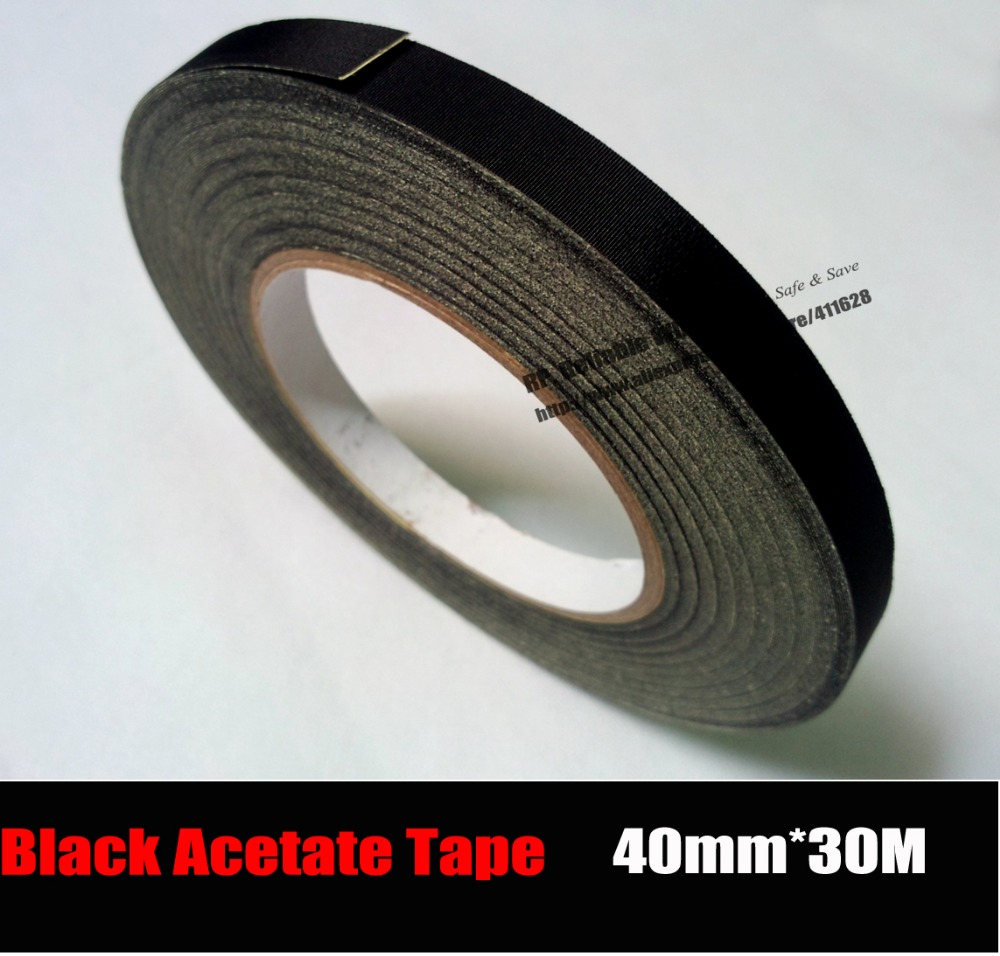 (40mm*30M) Insulation Black Acetate Cloth Tape, High Temperature Resist, LCD Screen Repair 2pcs 10mm 30 meters high temperature resist black adhesive insulate acetate cloth tape for laptop phone lcd cable wrap