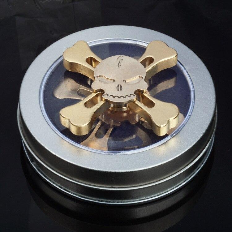 New Original Skull  Brass Fidget Hand Spinner Tri-spinner For Adult To Reduce Pressure Fidget Spinner