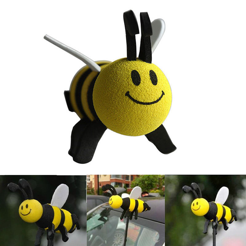 Hot Lovely Yellow Bee Antenna Ball For Car Antenna Decoration Cute Smiley Honey Bumble Bee Car Aerial Pen Topper Ball 6 frames reversible honey extractor for bee keeping