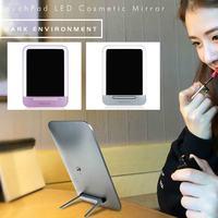 Brand New LED 3 Engrenagem Smart Touch Kickstand Ajustável Meninas/Crianças USB Recarregável Maquiagem Espelho Bancada Nightlight Candeeiro de Mesa