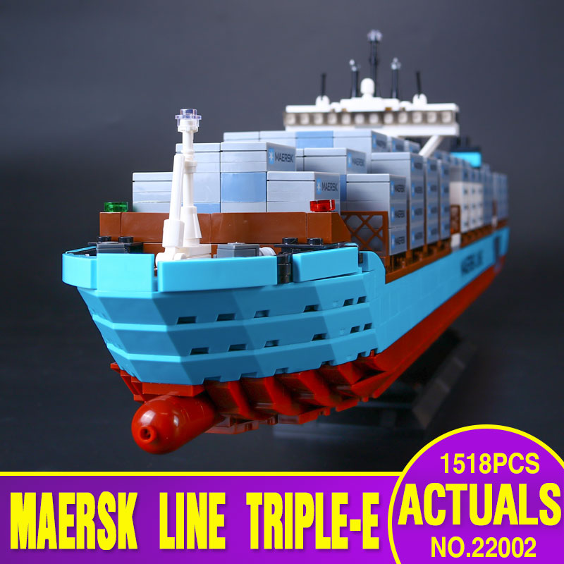 Lepin 22002 1518Pcs Technic Series The Maersk Cargo Container Ship Set Educational Building Blocks Bricks Model Toys Gift 10241 22002 genuine technic series the maersk cargo container ship set 10241 building educational toys lepin