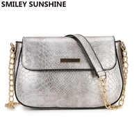 SMILEY SUNSHINE Snake Print Crossbody Bags For Women 2019 Female Silver Bag PU Leather Small Handbag Fashion Ladies Vintage Bag