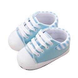 Новые весенние полосатые кроссовки из искусственной кожи для маленьких детей, нескользящая обувь с мягкой подошвой для мальчиков и девочек...