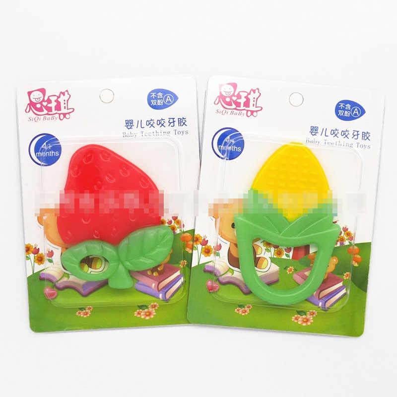 Bebé caliente frutas mordedor juguete de dentición de silicona chico sonajeros de cuidado infantil Diente de uva de fresa plátano formación Niño