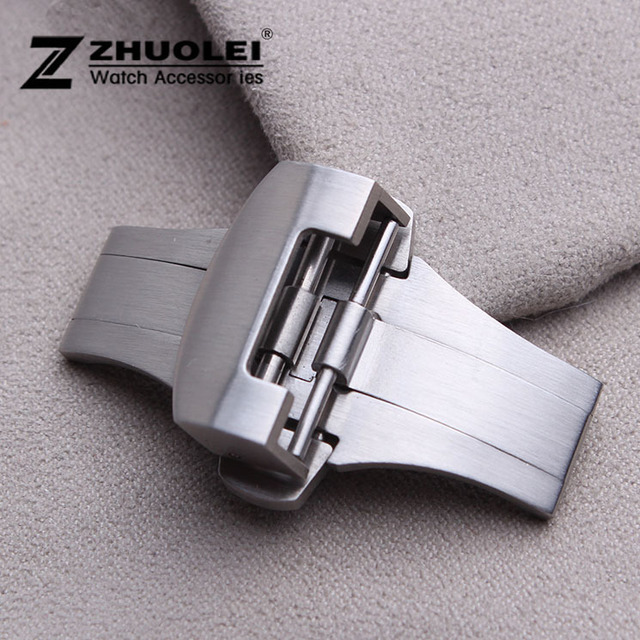 Brushed Silver Stainless Steel Butterfly Deployment Clasp Buckle For Brand Free