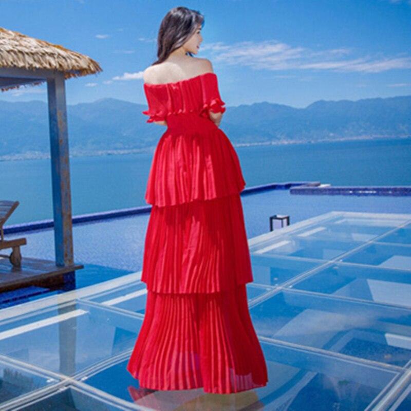 67421b3c6d01 HANZANGL Women Maxi Dress Short Sleeve Slash Neck Sexy Red/White Beach  Dress Bohemian Long Cake Dress Robe Longue-in Dresses from Women's Clothing  on ...