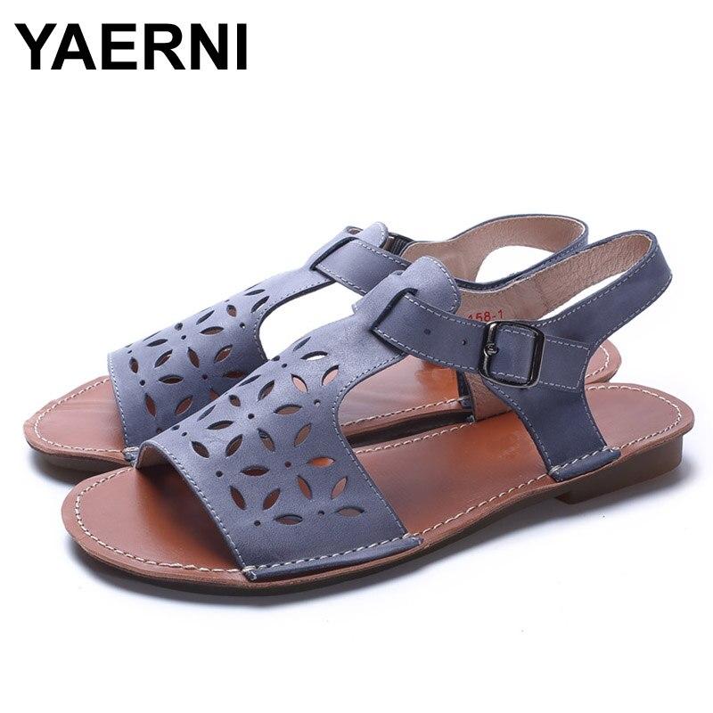 YAERNI Woman Shoes Gladiator Women Sandals Genuine Leather Ladies Flat Sandals Summer Shoes Female Footwear