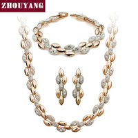 ZYS064 Frosting Elliptic Charms 18K Rose Gold Plated Jewelry Set Rhinestone Made With Austrian SWA Element