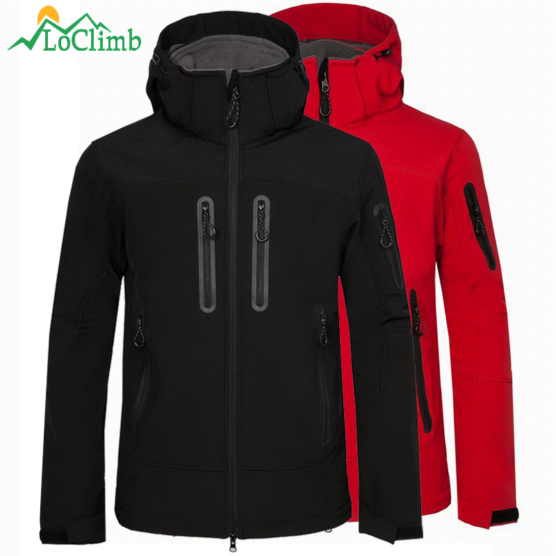 LoClimb Men's Spring/Autumn Softshell Jacket Men Outdoor Sports Hooded Coat Trekking Windbreaker Waterproof Hiking Jackets AM349