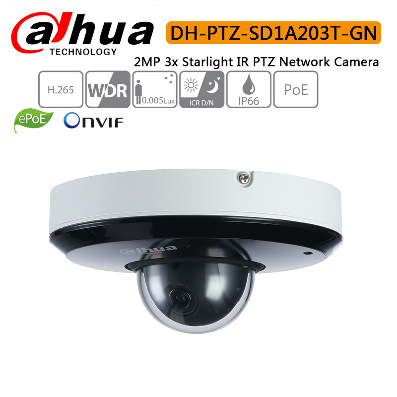 Dahua PTZ SD1A203T GN support IVS PoE IR15m IP66 2MP 3x Starlight IR PTZ Network Camera