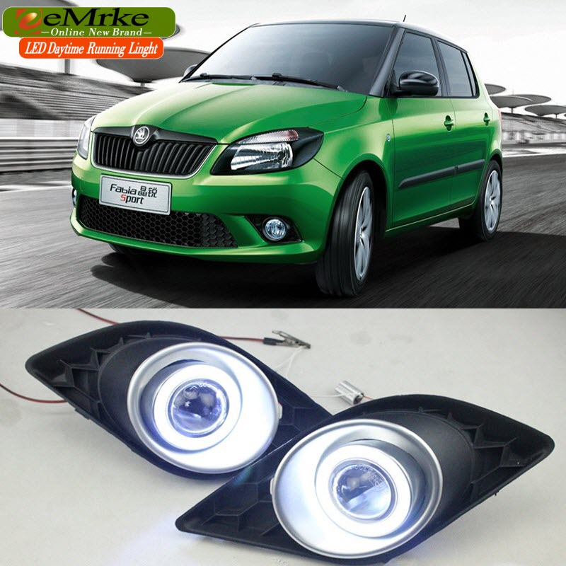 eeMrke For Skoda Fabia 1.4 TSI DSG RS LED Angel Eyes DRL Daytime Running Lights Halogen H11 55W Fog Lights eemrke cob angel eyes drl for kia sportage 2008 2012 h11 30w bulbs led fog lights daytime running lights tagfahrlicht kits page 5
