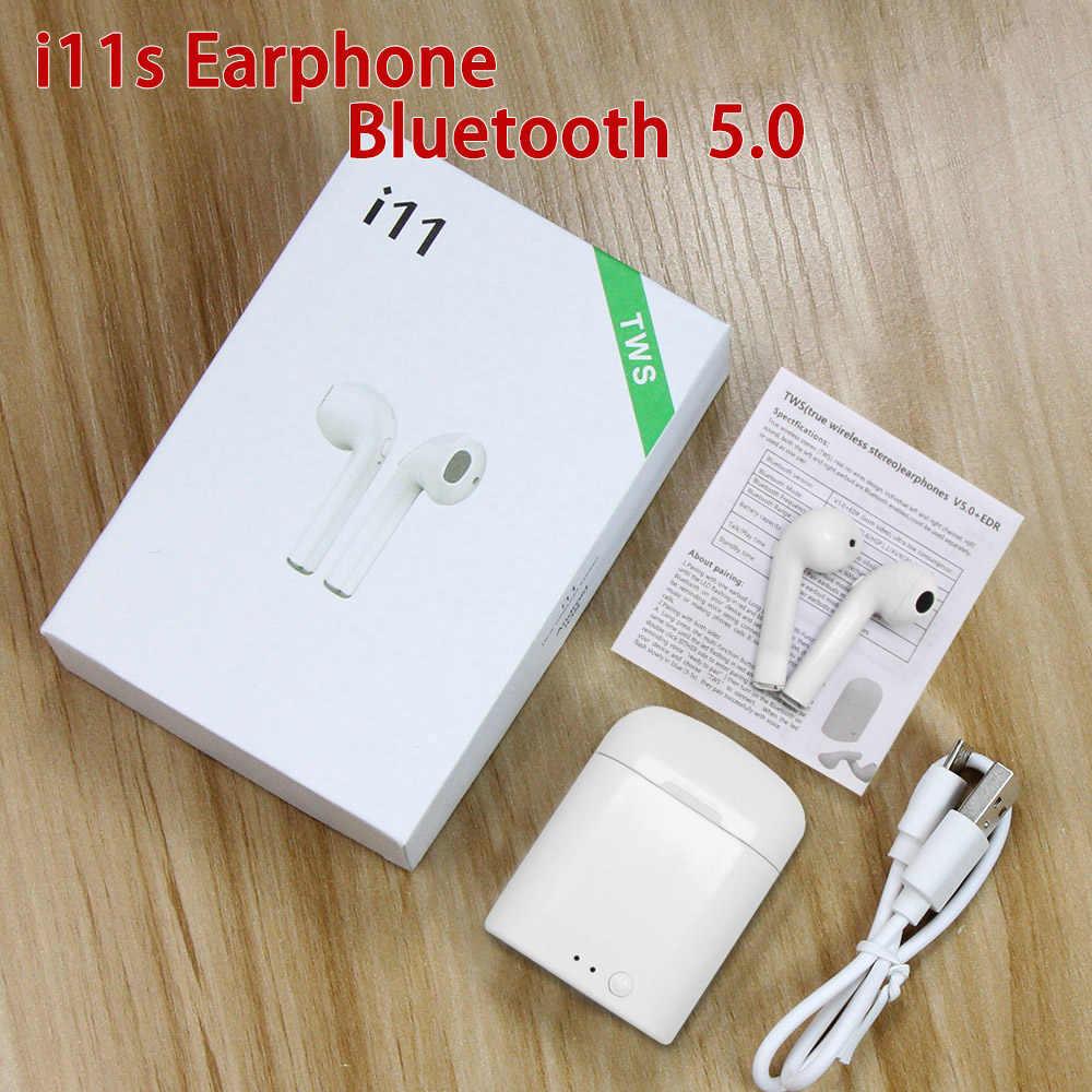I11s TWS Mini bezprzewodowe słuchawki Bluetooth słuchawki douszne słuchawki stereo zestaw słuchawkowy z okno ładowania słuchawki douszne do Samsung inteligentny ucha pomocy