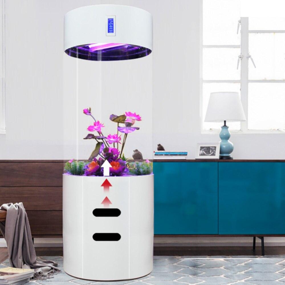 Ménage blanc européen salon surdimensionné grand moyen cylindrique acrylique réservoir d'eau Split type Aquarium nouveau