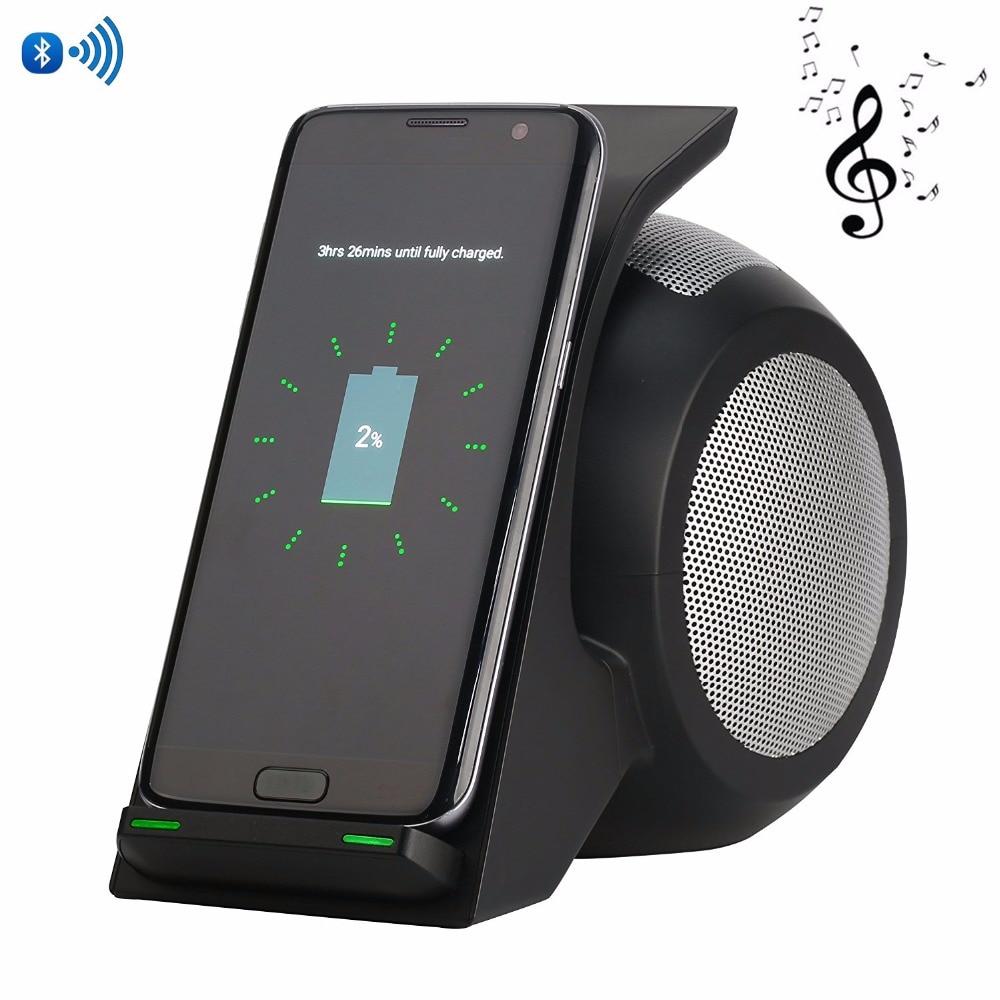 2 en 1 S9 S9 Plus chargeur sans fil rapide avec haut-parleur sans fil Qi chargeur sans fil Pad pour iPhone X Samsung Galaxy Note 8