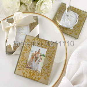 Two Pcs Per Set Golden Brocade Elegant Glass Photo Coasters Wedding Favors And Gift