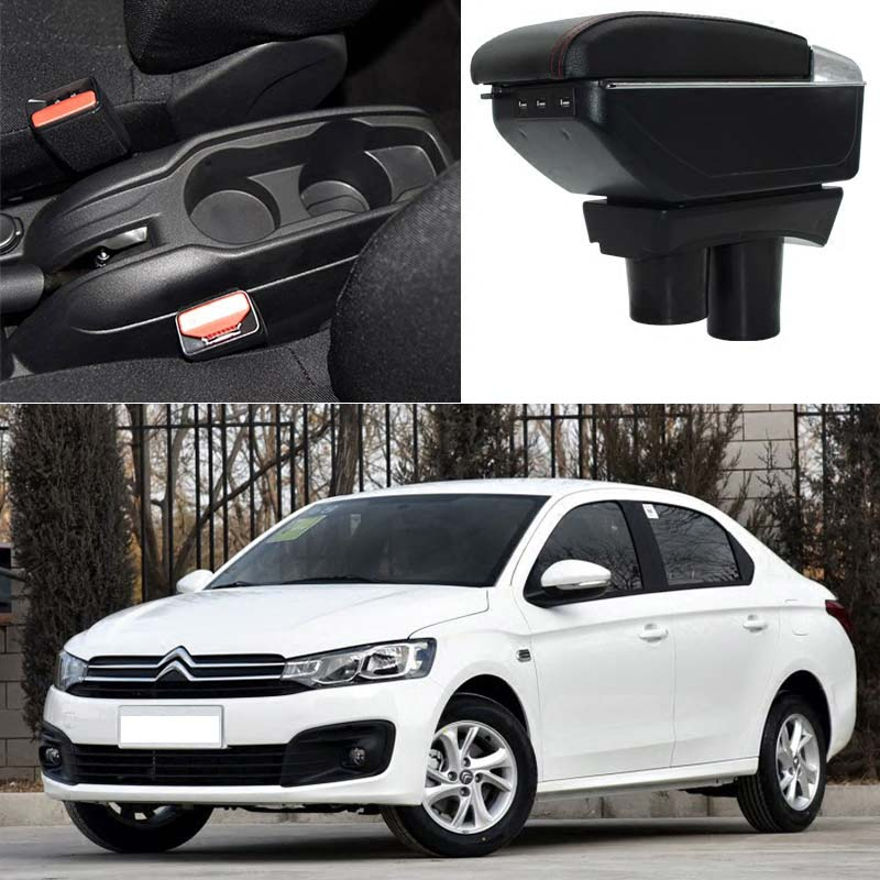 Car armrest box central Store box with USB for peugeot 301 citroen elysee 2012 2013 2014 2015 2016 2017