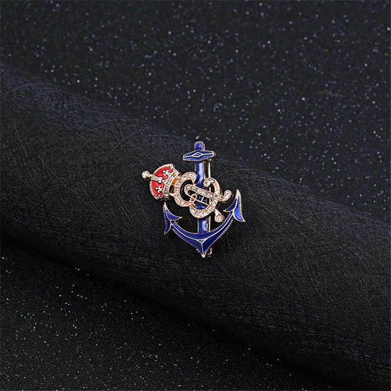 ENZE fashion baru wanita perhiasan Zinc alloy indah laut jangkar mahkota merah biru bros untuk wanita dan pria Pakaian aksesoris