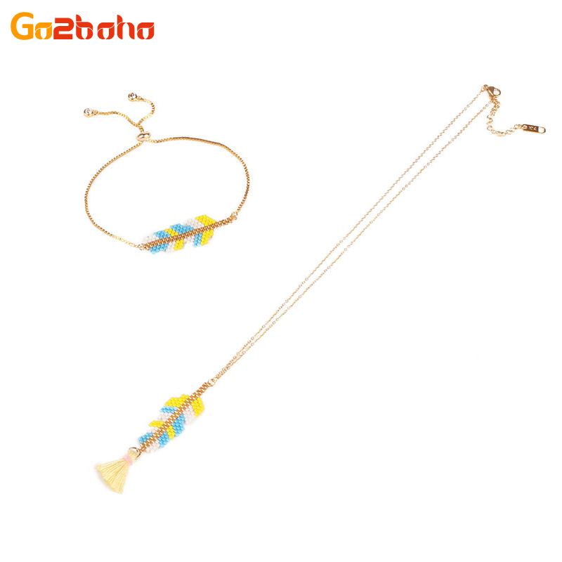 Go2boho Multicolor Feather Jewelry Set Miyuki Beads Chain Kids Jewelry Cartoon Necklace Bracelet Sets For Girls Best Gifts