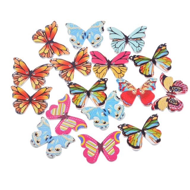 hooomall 50pcs mixed color 2 holes butterfly wood button scrapbooking accessories diy crafts decoration sewing supplies - Butterflies To Color 2
