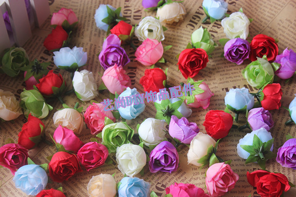 3CM Small Fabric Camellia Bud Artificial Silk Tea Roses Buds Heads,Floral Head Wreath,Garland Hair,Wedding Decoration Supplies