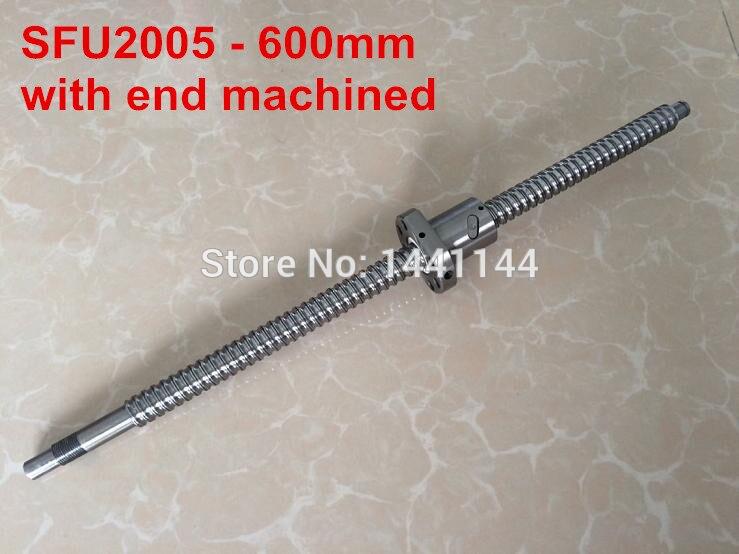 1pcs Ball screw SFU2005 - 600mm and 1pcs Ballnut for CNC for BK/BF15 standard processing top best price 1pcs ball screw sfu1605 l2350mm 1pcs rm1605 ballscrew ballnut for cnc and bk bf12 standard processing